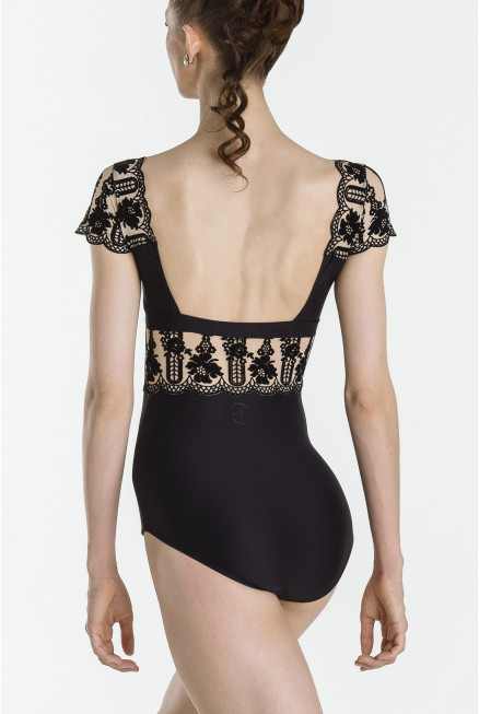 Wear Moi Emma Cap Sleeeve Flocked Leotard